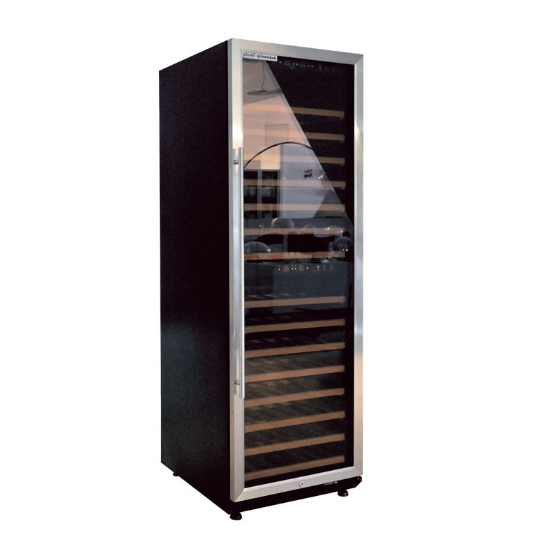plenti winecase weink hlschrank 450l mit 15 regalb den 2 zonen schwarz chrom ebay. Black Bedroom Furniture Sets. Home Design Ideas