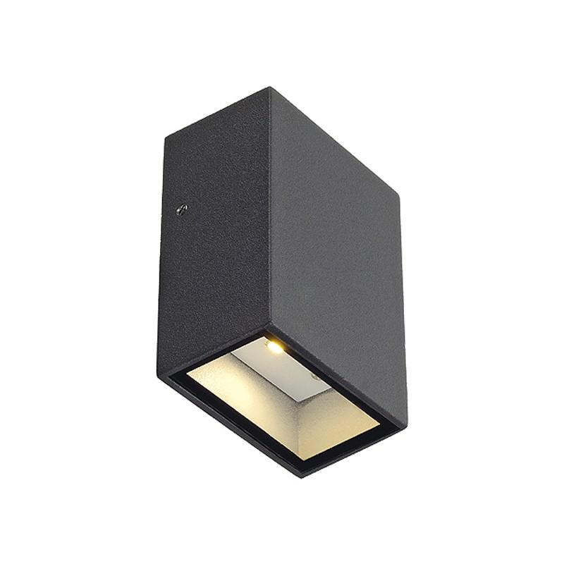 slv quad 1 aussen wandleuchte eckig anthrazit led 1x 3w warm weiss ebay. Black Bedroom Furniture Sets. Home Design Ideas