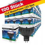 100x CLE Master Power LED 6W GU5,3 MR16 3000K 12V 25-40-55° 830 warmton