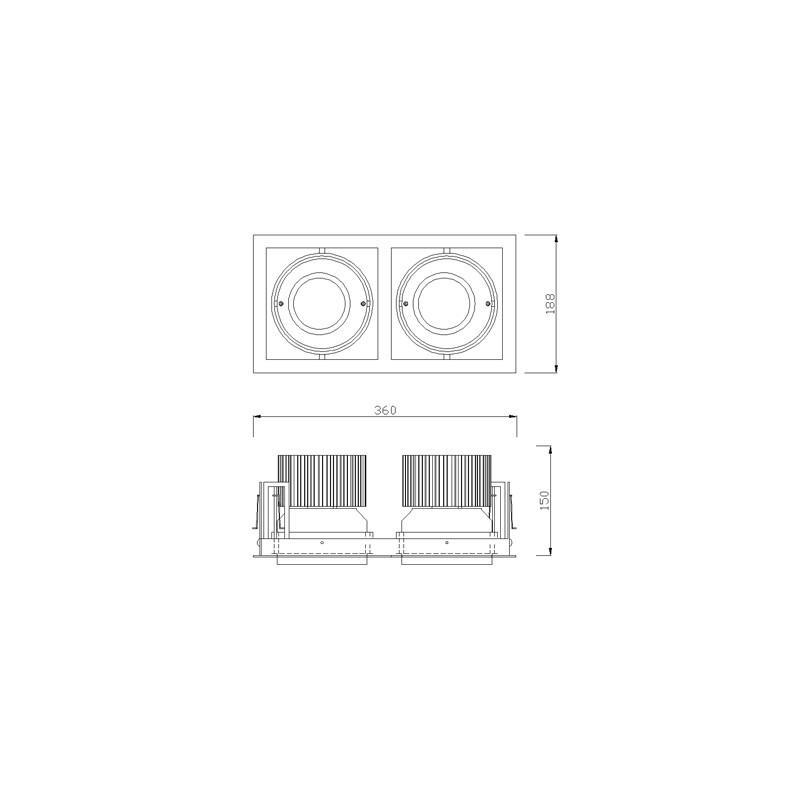 cle kardan einbauleuchte yk2 f r 2x fortimo dlm led 1100 3000 lumen schwarz philips fortimo led. Black Bedroom Furniture Sets. Home Design Ideas