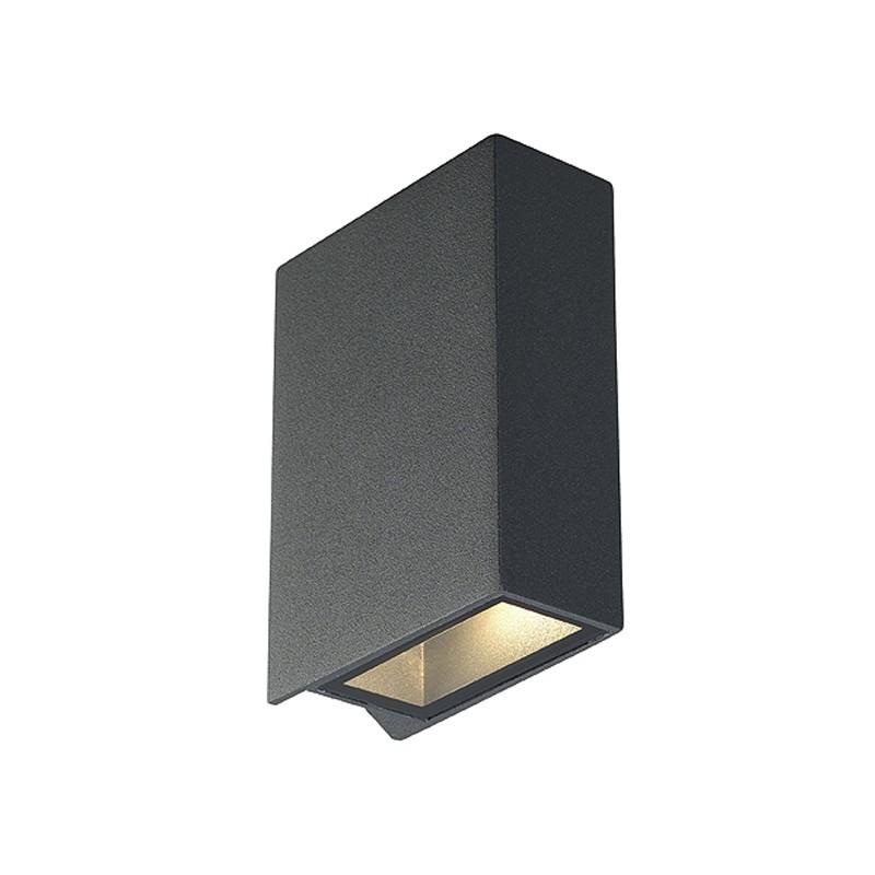 slv quad 2 aussen wandleuchte eckig anthrazit led 2x. Black Bedroom Furniture Sets. Home Design Ideas